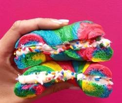 Rainbow bagel in Singapore